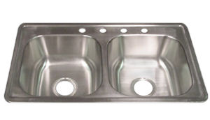 33x19x8 Stainless Steel Sink, Self-Rimming