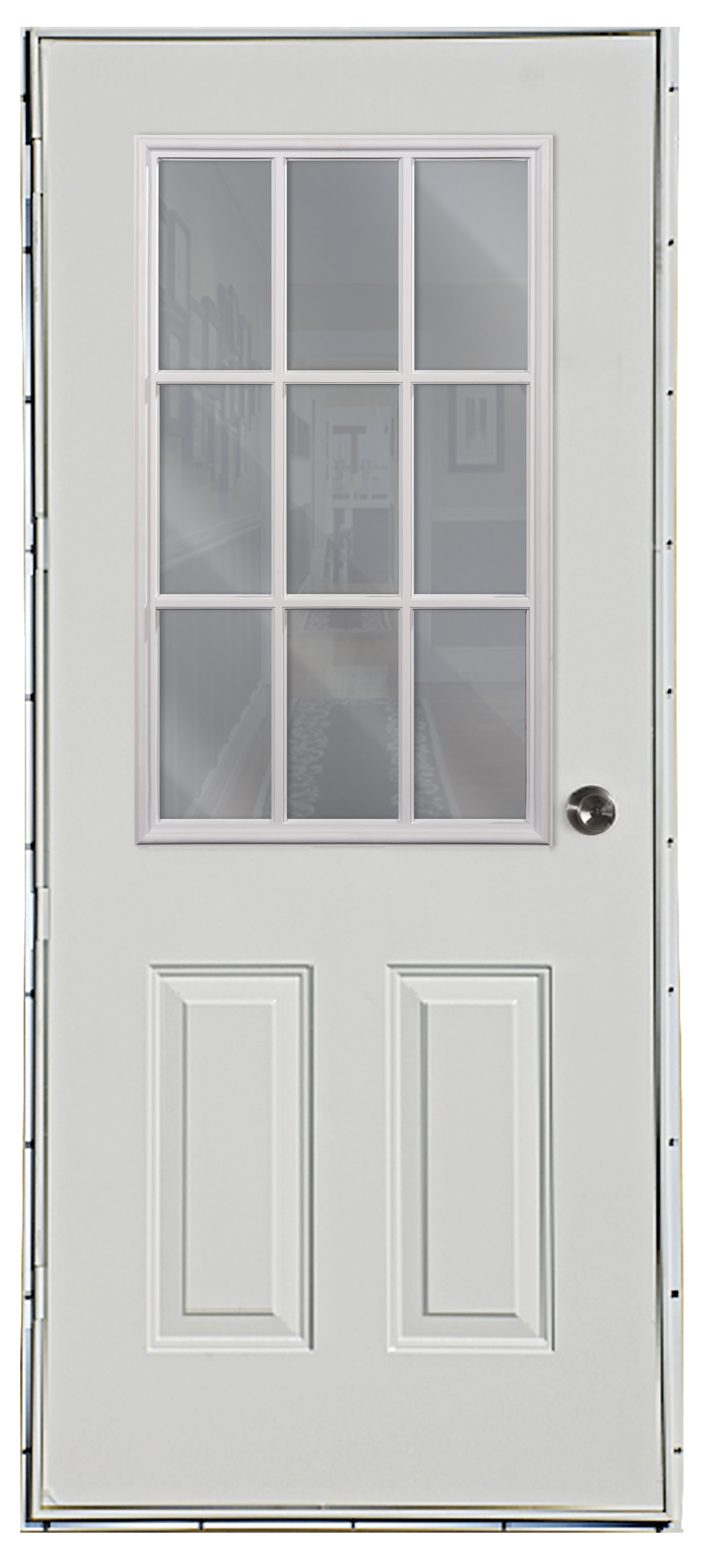 Beau Six Panel Steel 9 Lite Outswing Door