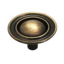 cabinet pull knob ant brass plain 909343