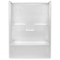 """54""""W x 28""""D x 75""""H  Capacity: 33.0 US Gallons  Color: White  AcrylX  Slip resistant floor  Molded soap ledges  Above the floor rough  Right hand drain  Complies with NAHB, HUD UM-73A&ANSI-Z124.1.2  Tub & Wall Sold as Set ONLY"""