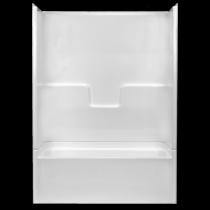 "54""W x 28""D x 75""H  Capacity: 33.0 US Gallons  Color: White  AcrylX  Slip resistant floor  Molded soap ledges  Above the floor rough  Left hand drain  Complies with NAHD, HUD UM-73A & ANSI-Z124.1.2"