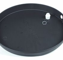 """24"""" ID x 26"""" OD Pan  Prevent costly floor repair. Install a water heater drip pan when you replace your old water heater.  Made of high impact polyethylene plastic.  Will not rust or corrode.  1"""" drain fitting included.  Pans are 2 1/2"""" high.  Side and bottom knockouts for easy installation"""